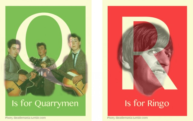 An alphabet poster series inspired by The Beatles: Q R