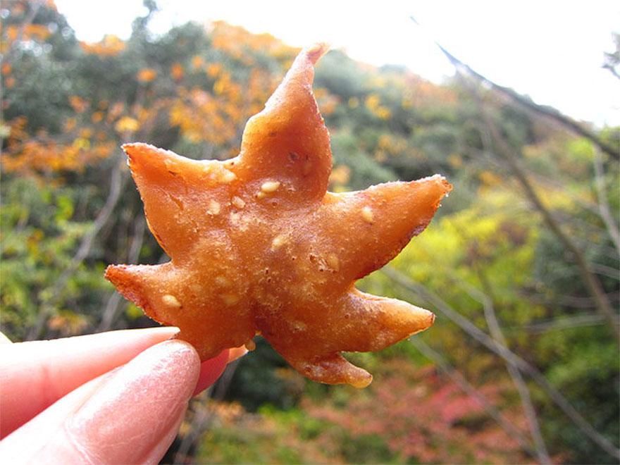 Deep fried maple leaves in a sweet tempura batter
