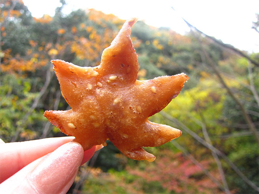Deep fried maple leaves in a sweet tempura batter