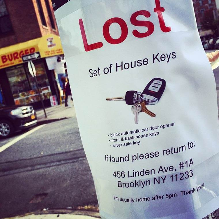 Humorously pointless missing poster: Lost keys