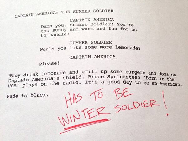 Humorous first drafts of popular movies: Captain America Winter Soldier