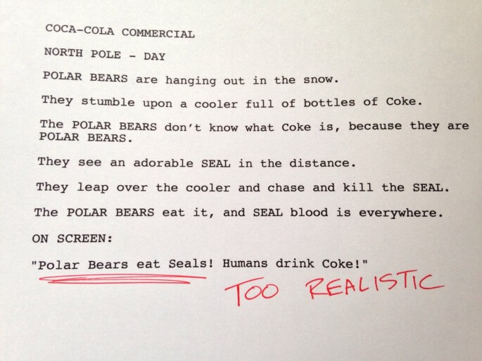 Humorous first drafts of popular movies: Coca-Cola Commercial