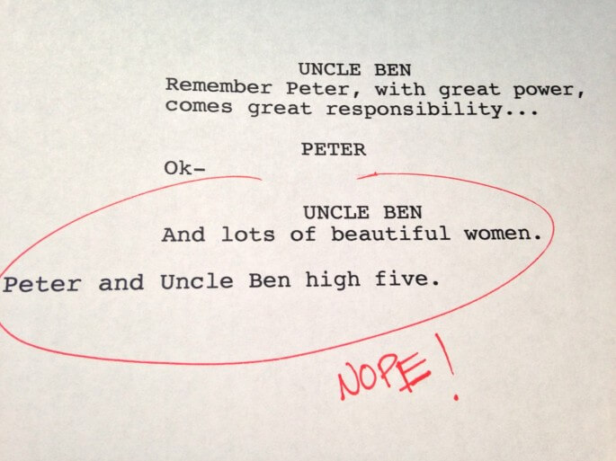 Humorous first drafts of popular movies: Spiderman