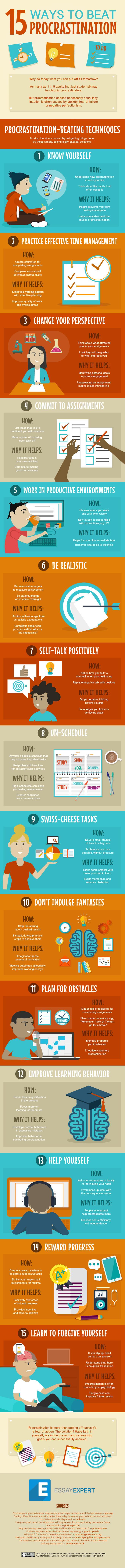 Infographic: 15 ways to beat procrastination