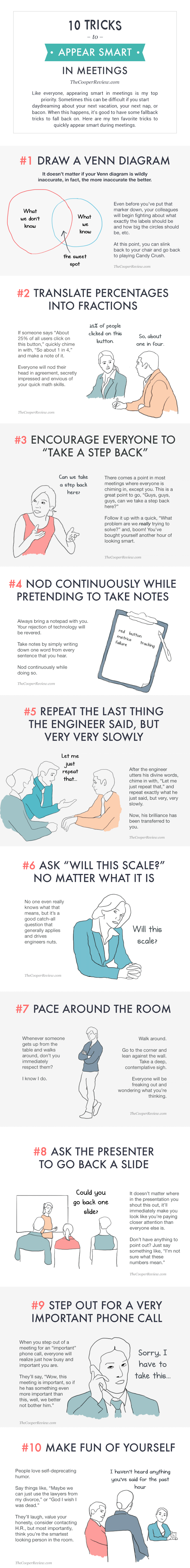Infographic: 10 tricks to appear smart in meetings