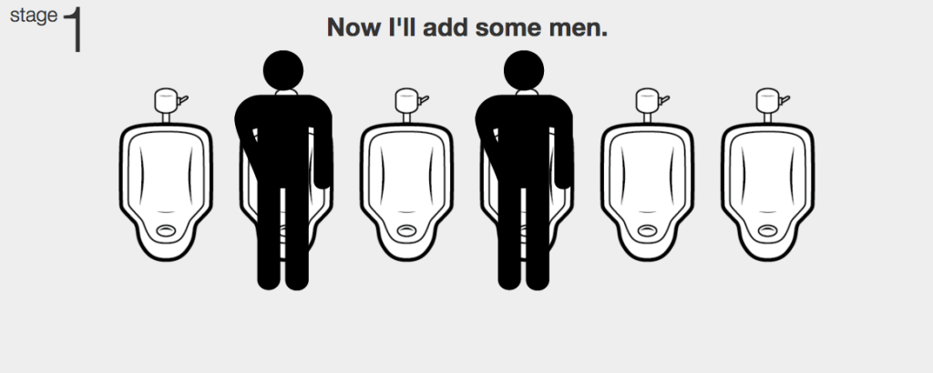 Urinal Man: Online urinal etiquette learning simulation