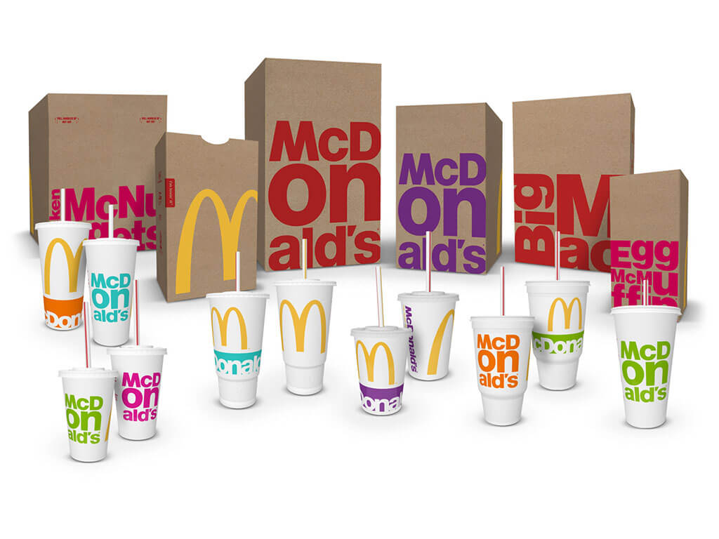 McDonald's new minimalist typographic packaging