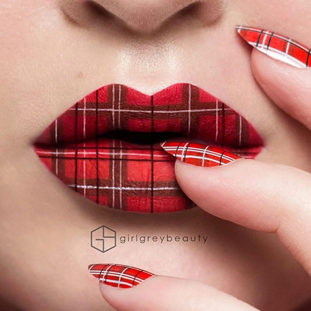 Andrea Reed plaid lip art