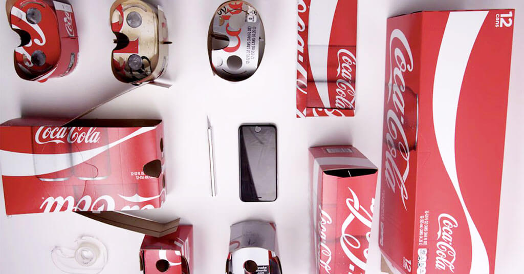 VR viewer made from Coca-Cola packaging