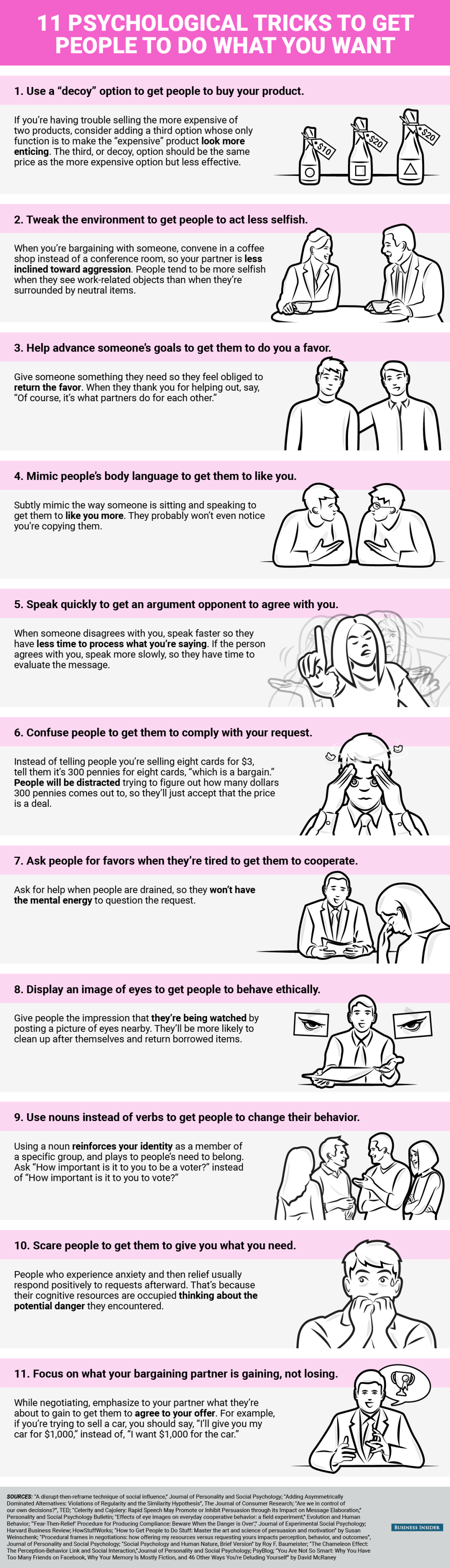 Infographic: 11 Psychological tricks to get people to do what you want
