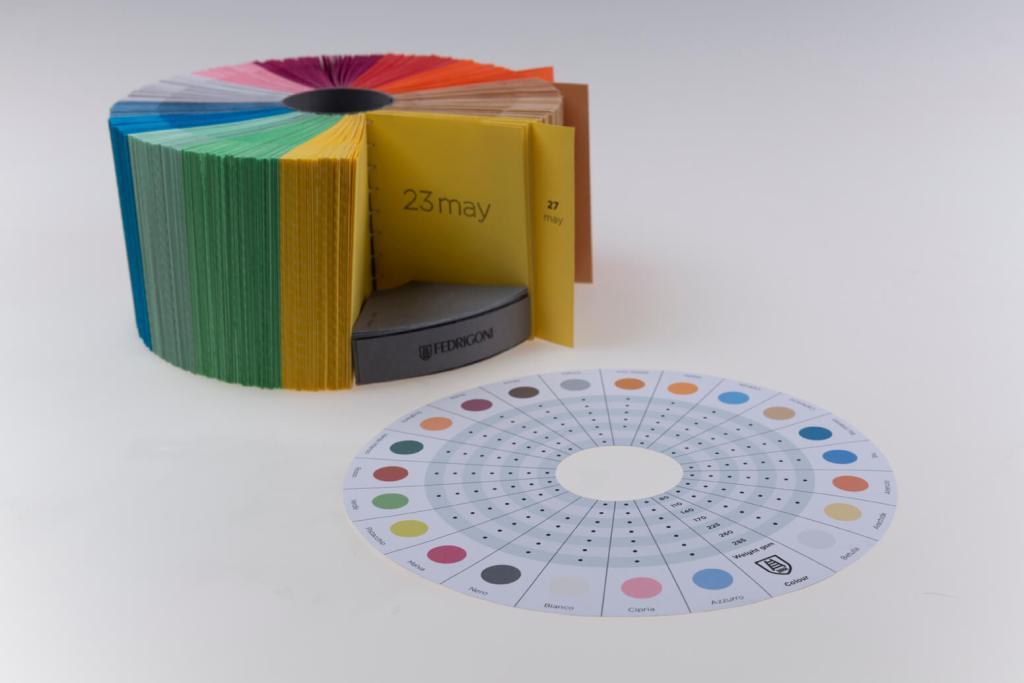 Paper sample kit that doubles as a calendar