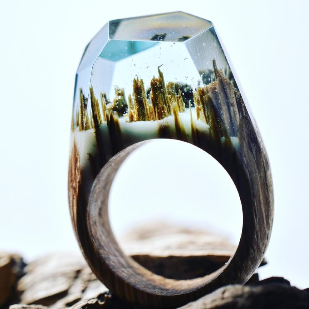 Waterfall: Miniature fantasy worlds within wooden rings