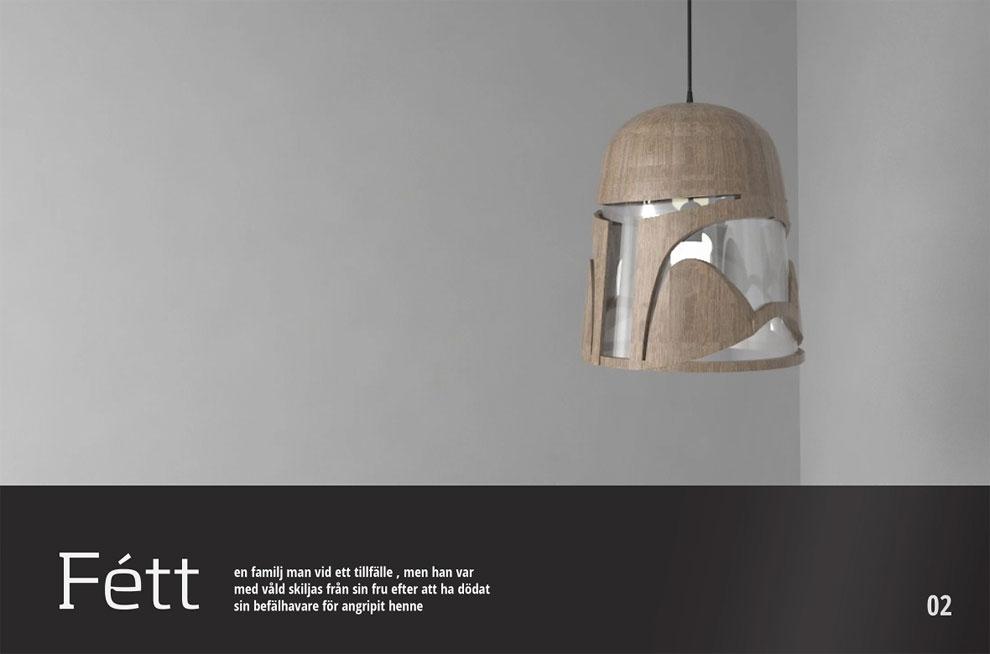 Minimalist Boba Fett lighting fixture