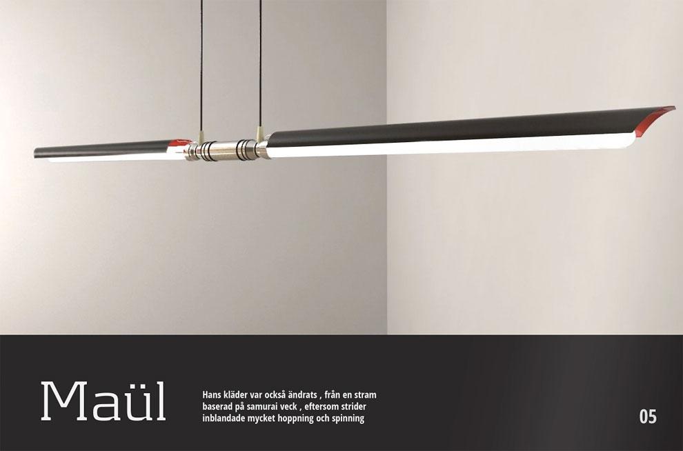 Minimalist lighting fixtures look like a Lightsaber