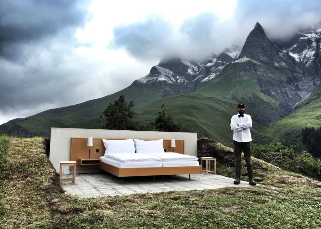Open-air hotel room in the Swiss Alps