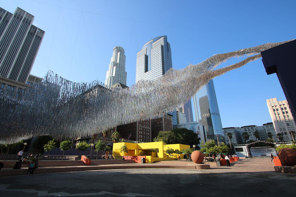 Installation floats about LA's Pershing Square