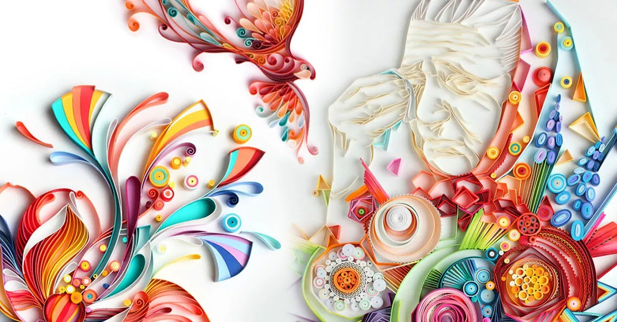 Mesmerizing paper art made from coloured strips