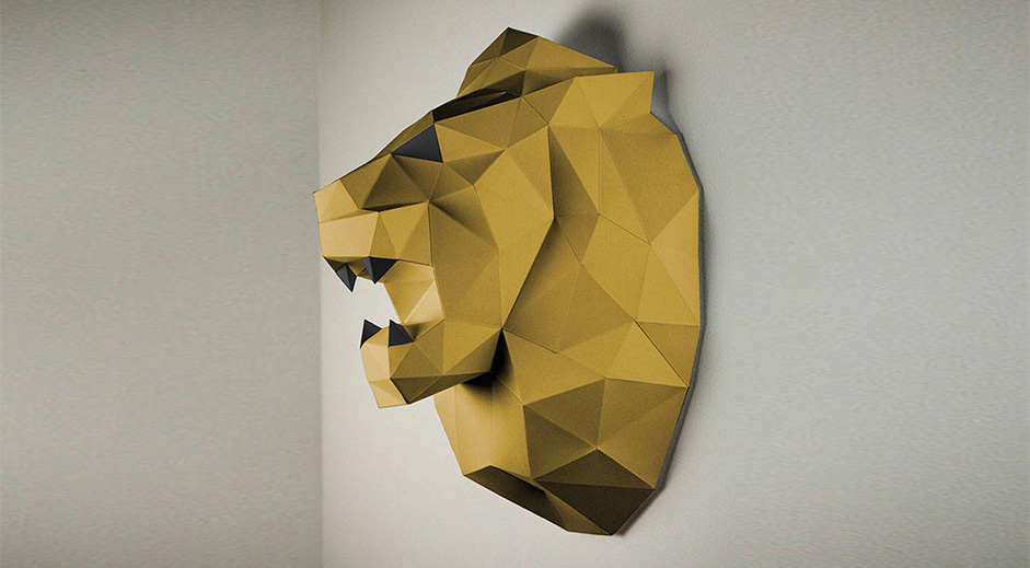 Low polygon animal head trophies made of colored paper