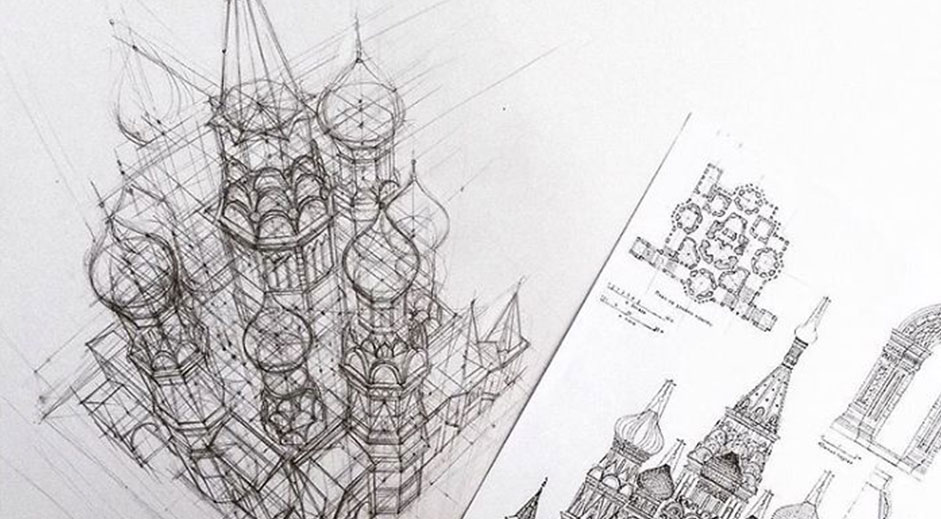 Discover this student's amazing freehand architectural sketches