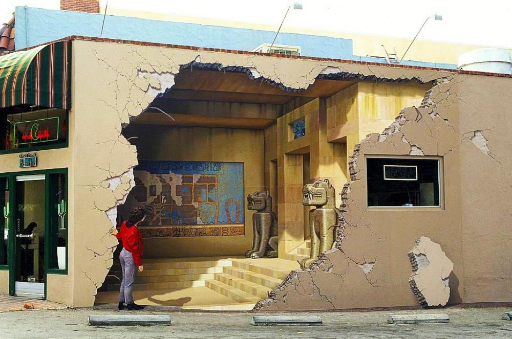 John Pugh street art that blurs the border between fantasy and reality