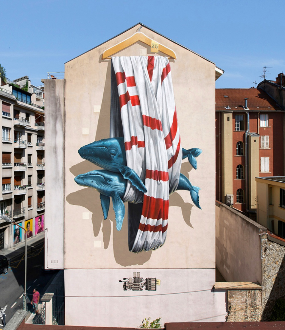 Nevercrew street art that blurs the border between fantasy and reality