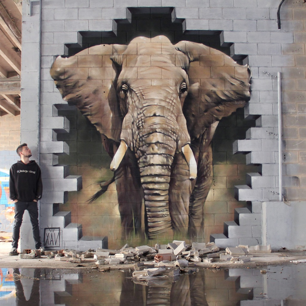 XAV street art that blurs the border between fantasy and reality