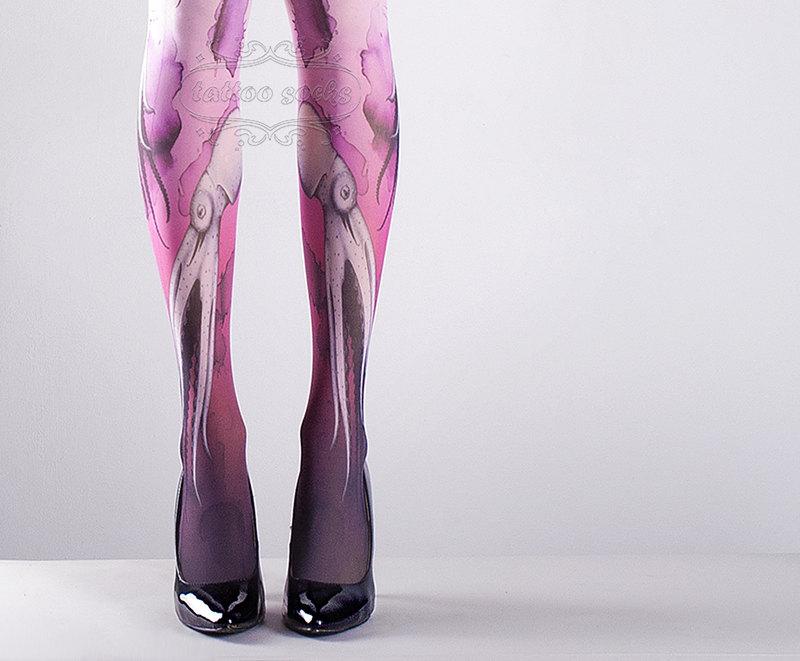 Pink Octopuses Tattoo Socks