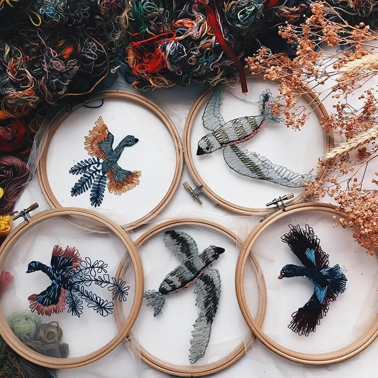 Nature-inspired embroidery that appears to be floating