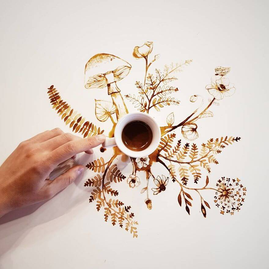 Giulia Bernardelli spilled coffee and tea turned into works of art
