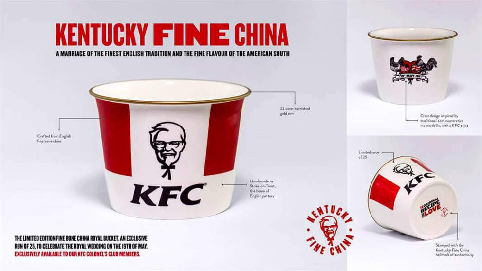 Kentucky Fine China bucket celebrates the royal wedding