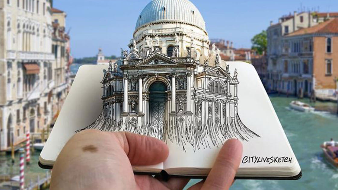 Artist creates amazing 3D sketches of famous landmarks