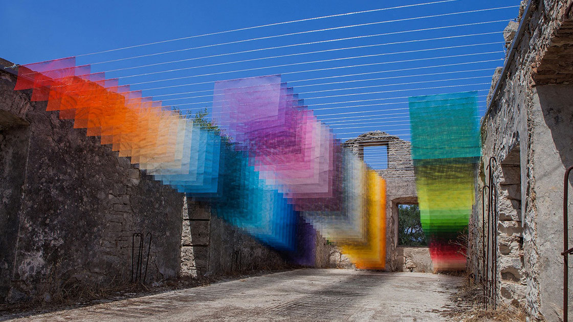 Art installations appears like pixelated Photoshop effects