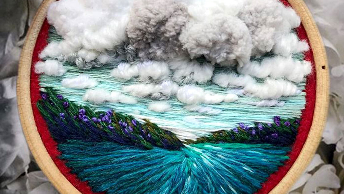 Artist swaps paint for needle & thread to create embroidery landscapes