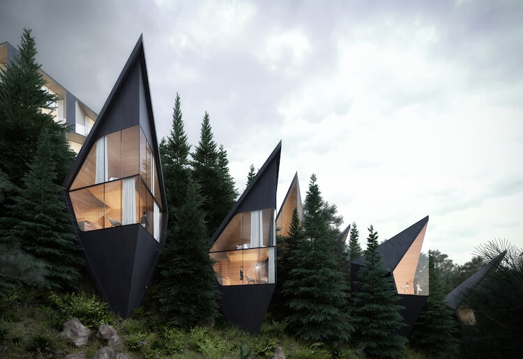Architect designs sustainable prism-shaped treehouses