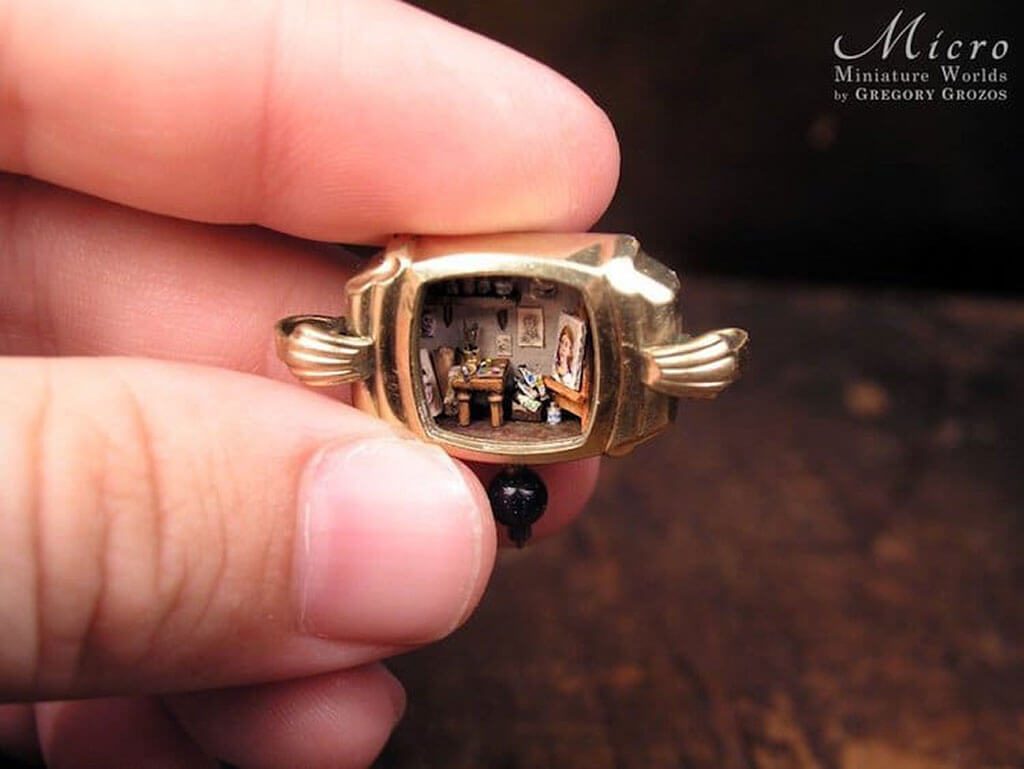 Miniature worlds inside old watches by Gregory Grozos