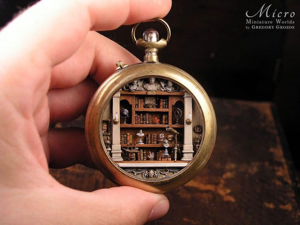 Miniature worlds inside old pocket watches by Gregory Grozos