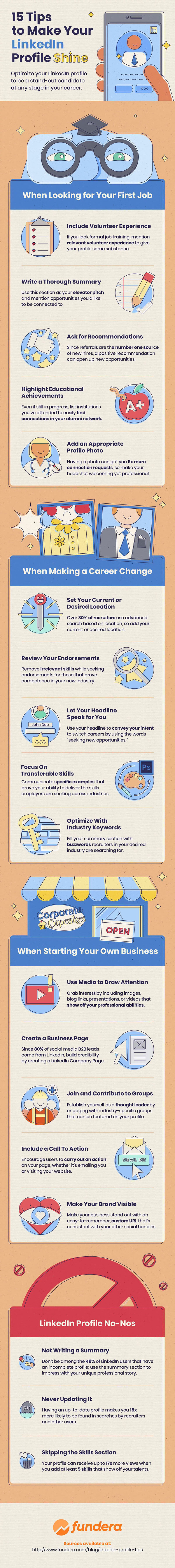 Infographic: 15 tips to make your LinkedIn profile shine