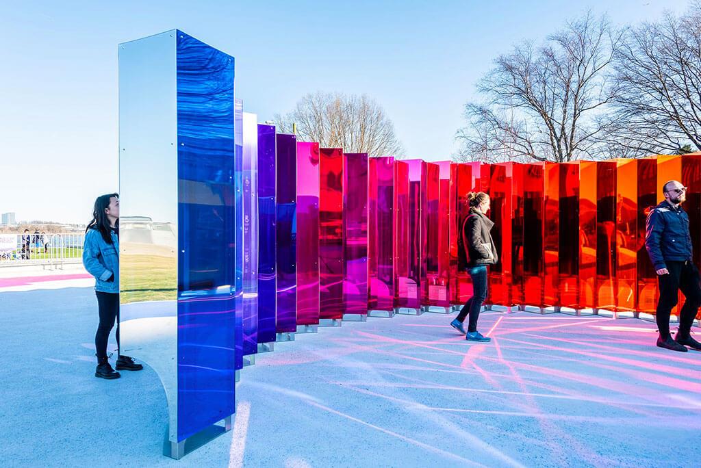 People experiencing the Mirror Mirror installation