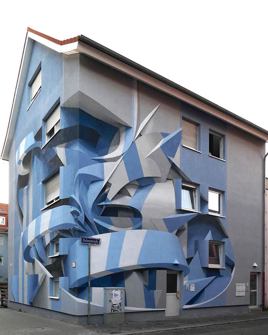 Optical illusion building on a street corner in Manheim, Germany