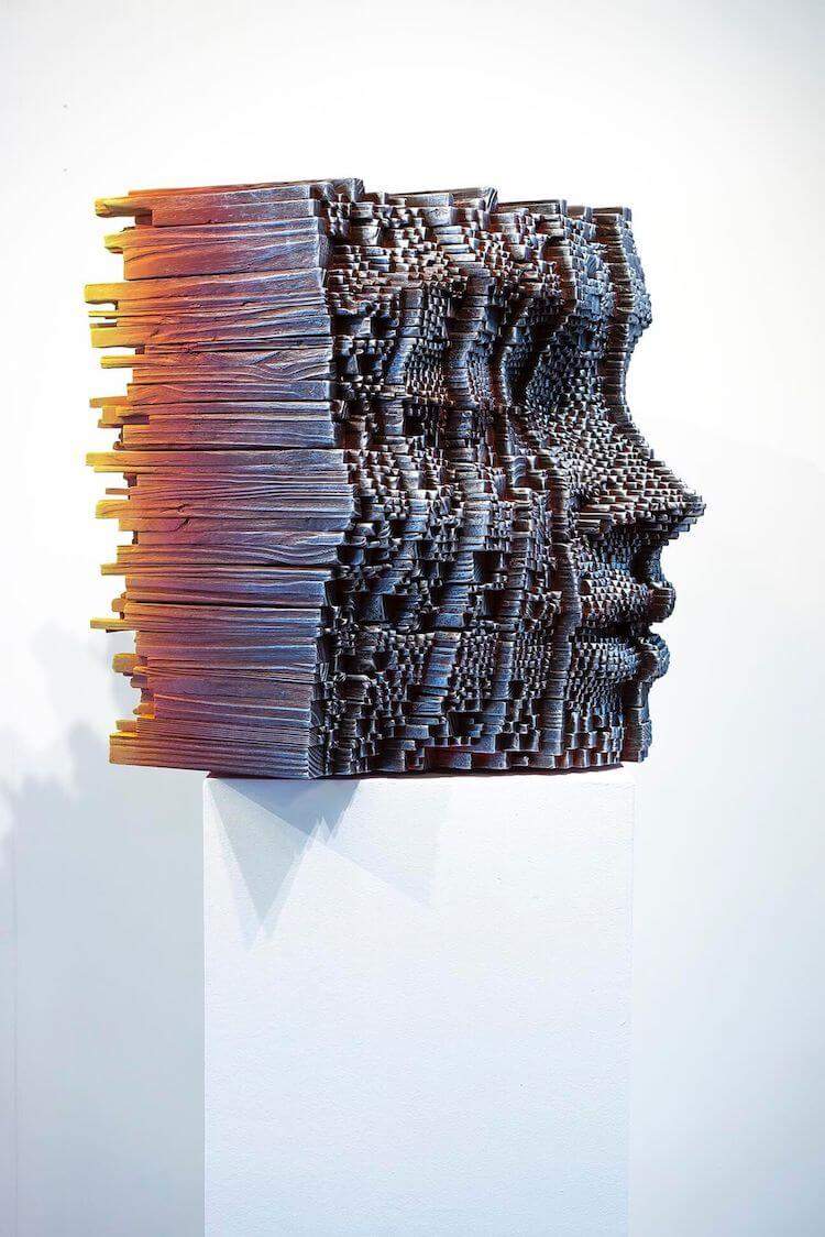 Vibrant pixelated sculptures