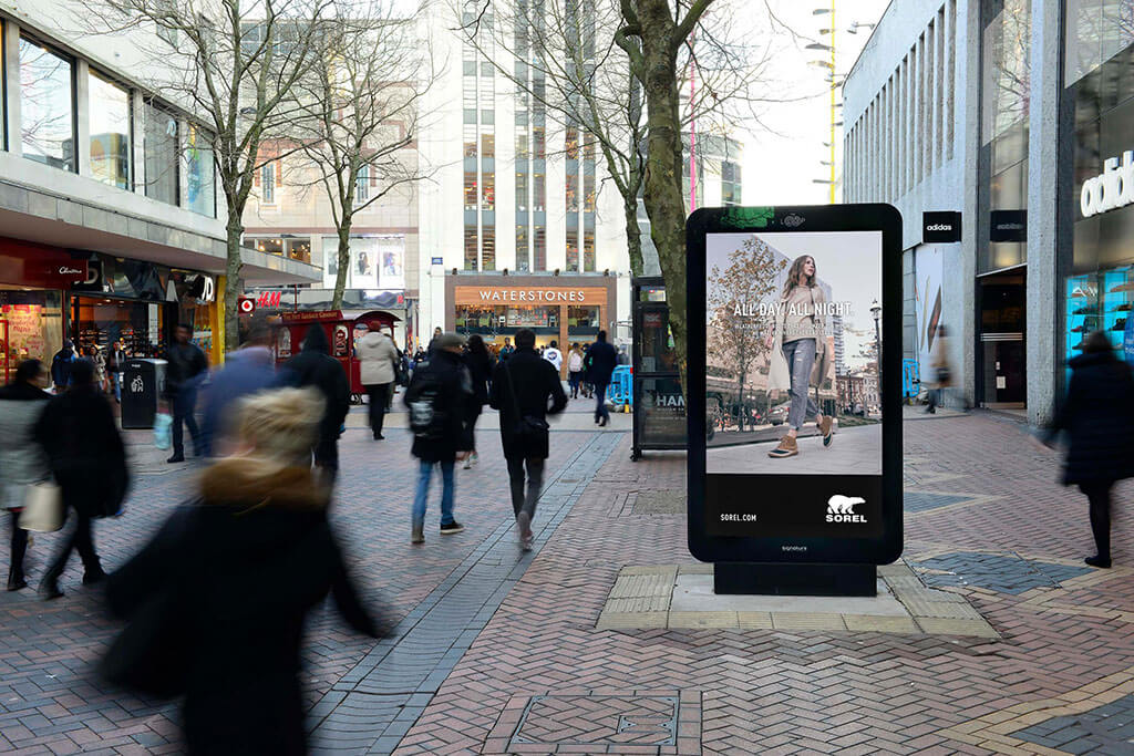 Sorel digital OOH ads change depending on time of day and temperature