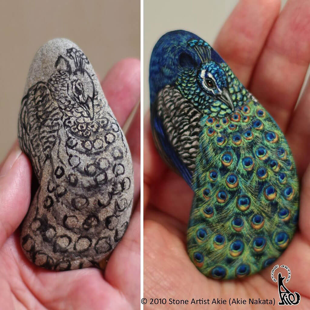 Before and after of a peacock painting