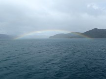 Picton, April - rainbow from the ferry