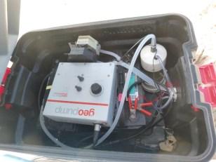Inside the Radon air-water exchanger box