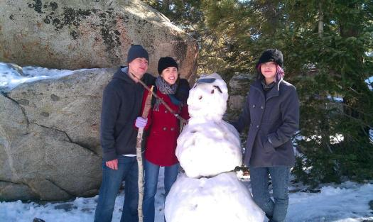 The Bro and Sis, and our amazing snow man.