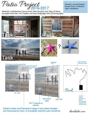 Project plan sample of a 'fake' window viewing piece, outdoor installation