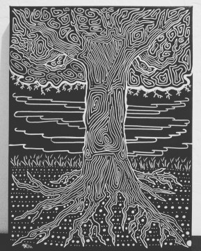 Tree on Black Primed Canvas with White Paint