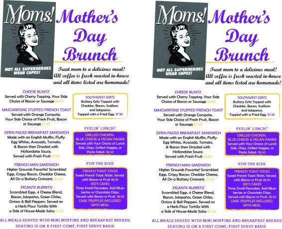 Mother's Day Brunch Menu, to be printed on colored paper.