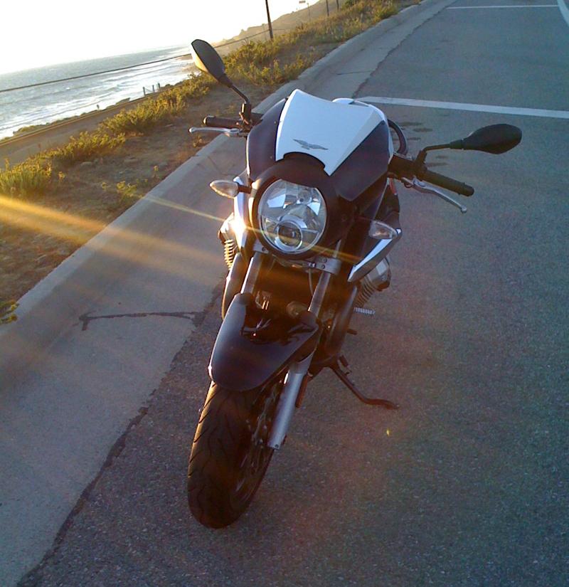 The Breva 1200 Sport, just north of Ventura off the 101, Sunset.