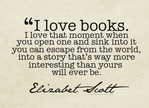 Elizabeth Scott escape into a book